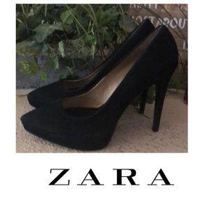 Zara Woman black suede heels 39